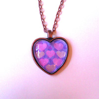 Pink and gold hearts glass dome heart necklace for tween or teen girl