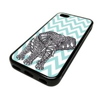 Apple Iphone 5 or 5s Case Cover Cute Elephant Animal Baby Blue Chevron Pattern Unique Design Black Rubber Silicone Teen Gift Vintage Hipster Fashion Design Art Print Cell Phone Accessories
