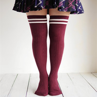 Striped Thigh High College Socks