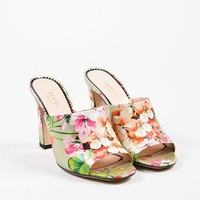 """Gucci Silver and Pink Leather Floral """"Soft St. Blooms"""" Mule Sandals"""