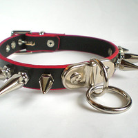 Red Trim Black Leather BDSM Bondage Collar with plated Ring & Spikes - for fetish punk, slave sub