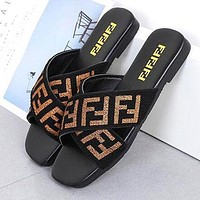 FENDI Fashion Women Casual Flats Beach Sandals Slippers Shoes Black(Golden Letter)