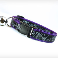 "Halloween Cat Collar - ""Spiderwebs"" - Spooky Cobwebs on Black & Purple"