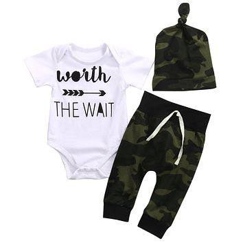 2017 New Hot 3PCS Set Baby Clothes Camouflage Kids Suit Wait The Wait Baby Romper and Pant Hat Outfit Bebek Giyim Child Clothing