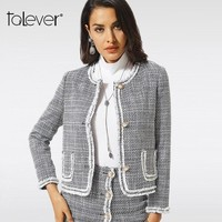 Trendy Talever Fashion Autumn Outwear Women Formal Jacket For Woman Work Wear Plus Size Office Lady Solid Coat Suits Short Top Tunic AT_94_13