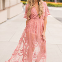 Sweetest Bohemian Gypsy Lace Maxi Dress (Ginger)