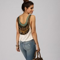 Promo-natural Crochet Open Back Top