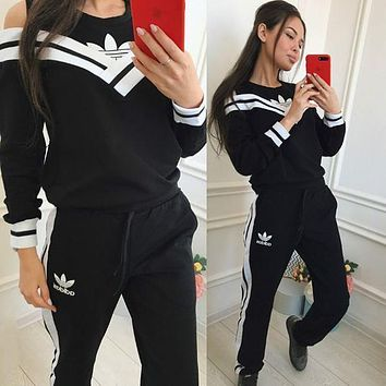 Adidas Women Sports Top Sweater Pullover Pants Trousers Two Piece