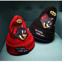winter thicken wool knitted hat Tom and Jerry beanies skullies cartoon mouse patch gorros bonnet hat outdoor chapeus for women