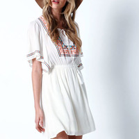 DESERT EMBROIDERED FLUTTER CREPE DRESS