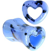 2 Gauge Black Speckled Blue Acrylic Heart Saddle Plug Set