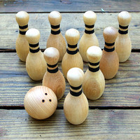 Wooden Bowling Set, Waldorf Toy, 10 pins Outdoor Game