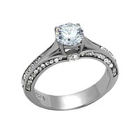A Love Story - 1.28 CT. Equivalent Cubic Zirconia Center Stone Pave Lined Engagement Ring