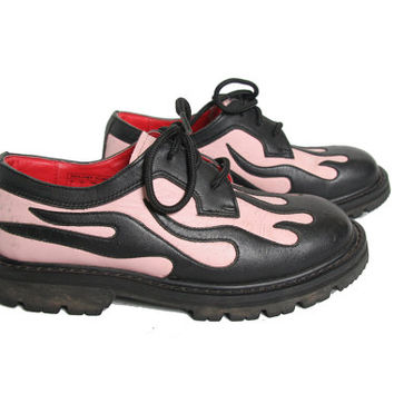 Pastel Pink and Black Flame Shoes - Fire Flame - Oxford Shoes - Cyber Goth - Joes Garb - Lace Ups - Chunky Shoes - Grunge 90s 1990s