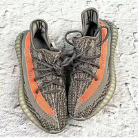 Samplefine2 Adidas Yeezy Boost 350 V2 men and women models fashion casual shoes F Gray + orange line
