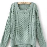 Green Round Neck Hollow Sweater S160