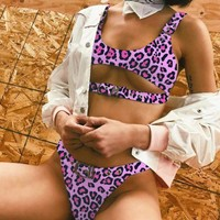 Beach Summer New Fashion Solid Color Leopard Print Vest Two Piece Bikini Swimsuit