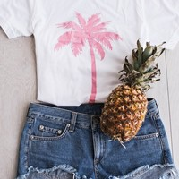 Pink Palm Tree Tee – Ily Couture