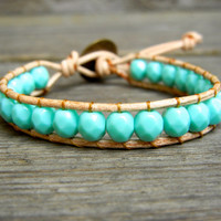 Beaded Leather Single Wrap Stackable Bracelet with Turquoise Green Czech Glass Beads on Natural Tan Leather Spring Summer