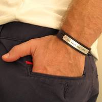Custom Engraved Mens Bracelet / Personalized Fathers Wristband / Gift for Him