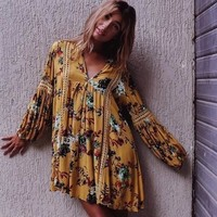 Plus Size Summer Holiday Dress V Neck Hollow Out Lace Patchwork Wildflower Dress Maxi Hippie Elegant Women Casual Vestidos