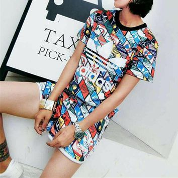 """""""Adidas"""" Fashion Casual Multicolor Clover Letter Print Short Sleeve Set Two-Piece Sportswear"""