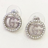 GUCCI New fashion pearl diamond letter round earring women Silver