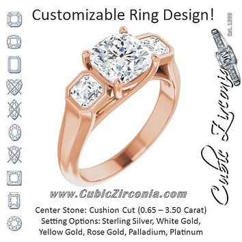 Cubic Zirconia Engagement Ring- The Alana Marie (Customizable 3-stone Cathedral Cushion Cut Design with Twin Asscher Cut Side Stones)
