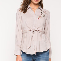 Embroidered Tie Front Shirt