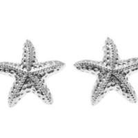 SOLID 925 STERLING SILVER RHODIUM HAWAIIAN SEA STARFISH STUD POST EARRINGS 15MM