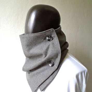 Men scarf. Men cowl,  Extra Wide, Grey wool 100%. Trendy, modern, chunky  and cozy. READY TO SHIP.