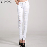 YI-NOKI Women Jeans Slimmer Elasticity Pencil Pants Holes Skinny Jeans Woman Plus Size Black White Ripped Jeans For Women