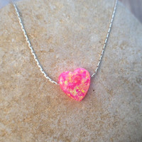 Heart opal necklace, bubble gum color, fire hot pink opal necklace, sterling silver 925 necklace, anniversary jewelry - October birthstone