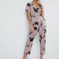 ASOS Jumpsuit with Wrap and Self Tie Detail in Floral Print at asos.com