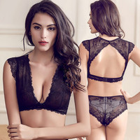 Sexy Deep V Lace Solid Color Backless Underwear Lingerie Set