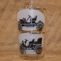 Glass Tumbler featuring Classic Cars including Maxwell 1908, Cadillac 1903, Ford 1908, and Packard 1899