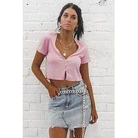 Button Me Up Pink Ribbed Top