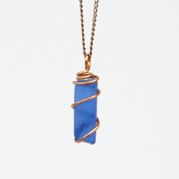 Cobalt blue sea glass pendant - Copper-wrapped sea glass beach glass pendant (Available with OR without copper chain