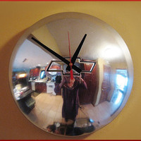 Chevy Wall Clock is a Vintage Re-purposed Metal Bow Tie HubCap - Man Cave Decor