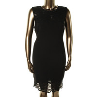 R & M Richards Womens Plus Ribbed Knit Lace Trim Cocktail Dress