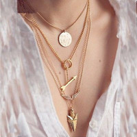 Gold 4 Tier Chain Layered Necklace Set with Arrow and Coin Charm
