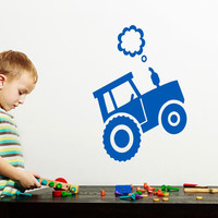 Tractor Wall Decal Car Decals Kids Nursery Boys Vinyl Stickers Home Bedroom Decor Playroom Art T97