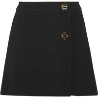 Prada - Natte wool wrap mini skirt