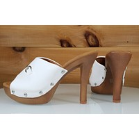"CR Slide White Silver Decor Faux Wood Slip On Mule Clog 4.5"" High Heel 6 - 11"