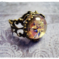 Amethyst Opal Round Glass Cabochon Ring with an Ornate Antique Brass Filigree Band