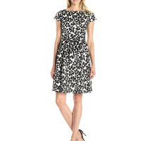 Anne Klein Women's Cap-Sleeve Fit-and-Flare Printed Dress