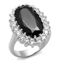 Cubic Zirconia Rings LO4094 Rhodium Brass Ring with CZ