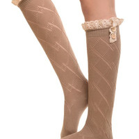 Mocha Knee High Boot socks with diamond knit & crochet lace