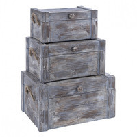 Set of 3 Weathered Wood Storange Trunk Boxes