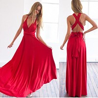 Back Cross V-neck Bandage Floor Length Prom Dress